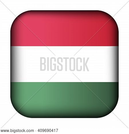 Glass Light Ball With Flag Of Hungary. Squared Template Icon. Hungarian National Symbol. Glossy Real