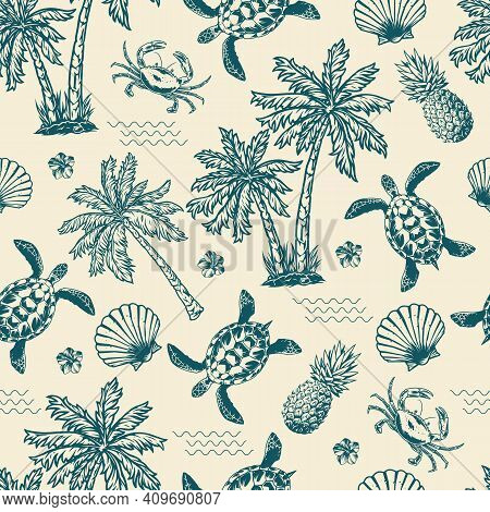 Vintage Monochrome Tropical Seamless Pattern With Exotic Flowers Palm Trees Sea Waves Pineapples Tur