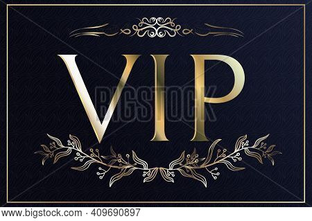 Vectors Vip Card. Gold Card With A Crown. Blue Gradient Print Geometric Ornament In Oriental Style.