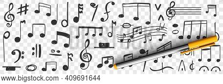 Musical Notes Drawings Doodle Set. Collection Of Hand Drawn Musical Notation With Notes Treble Clef