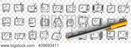 Old Fashioned Television Set Doodle Set. Collection Of Hand Drawn Vintage Retro Styles Television Se