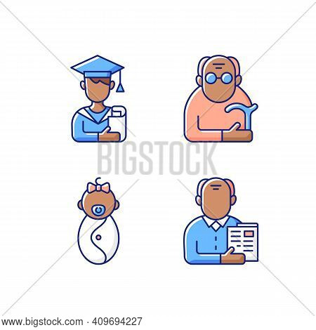 Aging Process Rgb Color Icons Set. Male Student. Pensioner. Early Adulthood. Baby Phase. Old Man. In