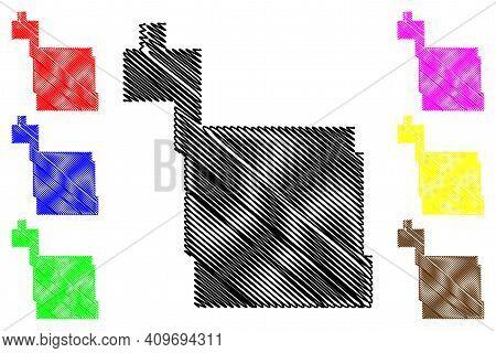 Ward County, North Dakota State (u.s. County, United States Of America, Usa, U.s., Us) Map Vector Il