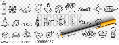 Sailing And Nautical Equipment Doodle Set. Collection Of Hand Drawn Lighthouse Anchor Compass Sailor