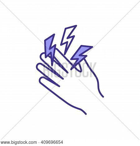 Hand Tremors Rgb Color Icon. Joint Inflammation. Carpal Tunnel Syndrome. Shaking Hands. Arthritis. M