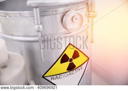 Lead Barrel Container With Nuclear Waste, Radiation Garbage