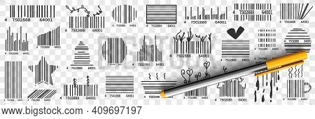 Barcodes On Packs Doodle Set. Collection Of Hand Drawn Various Barcode With Numbers For Scanning Or