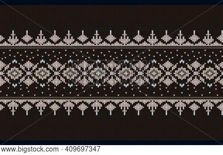 Vector Illustration Of Ukrainian Folk Seamless Pattern Ornament. Ethnic Ornament. Border Element. Tr