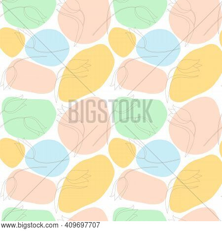 Vector Seamless Pattern Consisting Of Multi-colored Spots, Linear Tulips. Colored Spots Are Stylized