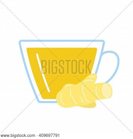 Ginger Root Herbal Tea In Glass Cup. Teacup And Ginger Seasoning Of Fresh Herb Drink. Vector Flat Il