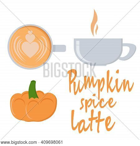Pumpkin Spice Latte, Orange Trendy Drink Cup Top And Side View And Orange Small Pumpkin Vector Illus