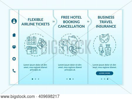 Covid Related Marketing Tips Onboarding Vector Template. Hotel Booking . Business Travel Insurance.