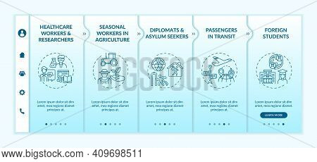 Travel Ban Exemption Categories Onboarding Vector Template. Seasonal Workers In Agriculture. Asylum