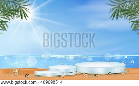 Vector 3d Showcase Display In Blue Pastel And Yellow Gold Stand On Beach Sand, Realistic Luxury Podi