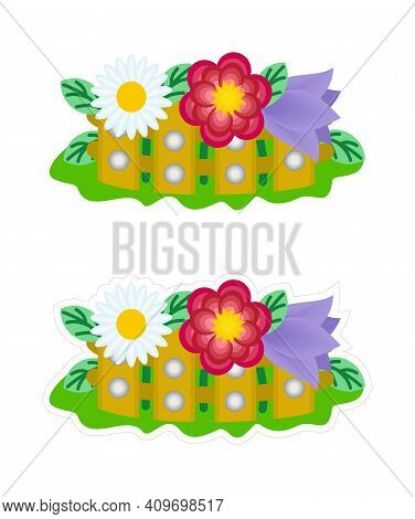 Vector Sticker With White Outline Of The Flower Garden. Colorful Cartoon Clipart Of Flowering Plants