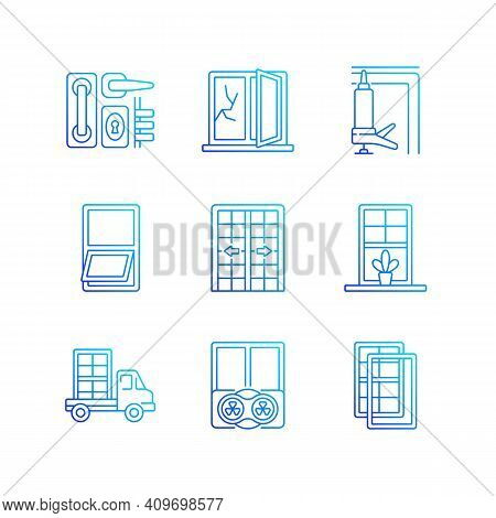Window And Door Installations Rgb Color Icons Set. Locks, Levers. Fixing Cracked Glass. Insulating B