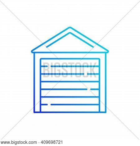 Garage Doors Gradient Linear Vector Icon. Storage Space. Parking Car In Garage. Keeping Vehicles Ext