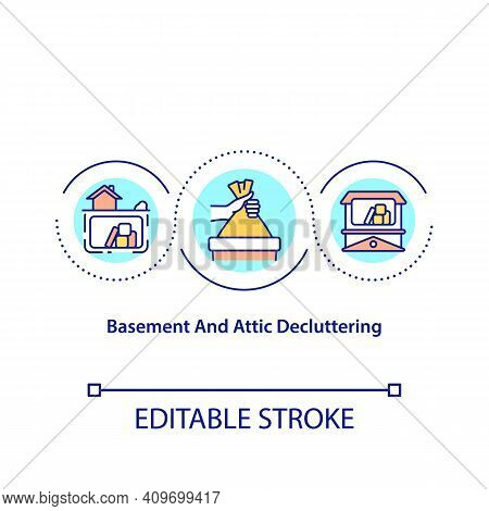 Basement And Attic Decluttering Concept Icon. Visualize Space In Improved State. Pick Category Of It