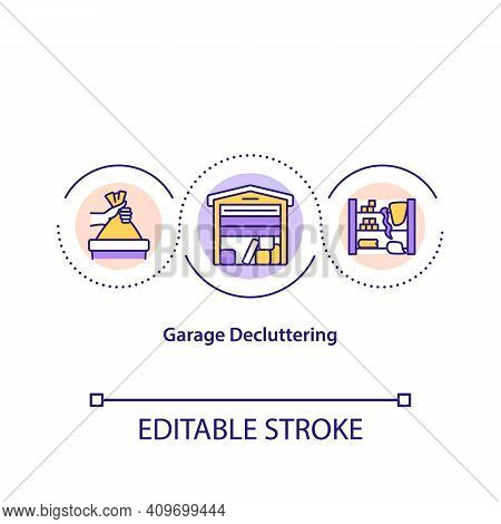 Garage Decluttering Concept Icon. Cleaning House From Old Things That You Do Not Need. Throwing Out