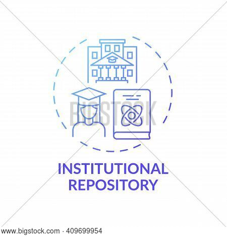 Institutional Repository Concept Icon. Online Library Search Options Idea Thin Line Illustration. Ne