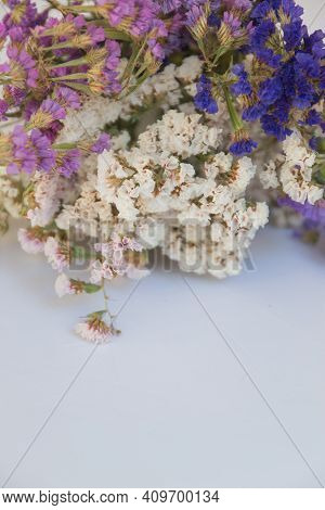 Macro Photography Of Dried Statice Flowers On White Background. Statice Flower Bouquet, As A Meaning
