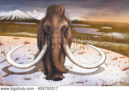 A Large Ancient Animal-a Woolly Mammoth Is Walking On A Winter Plain.