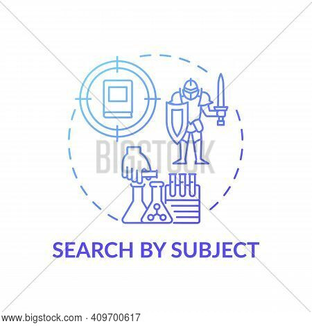 Search By Subject Concept Icon. Online Library Search Options Idea Thin Line Illustration. New Techn