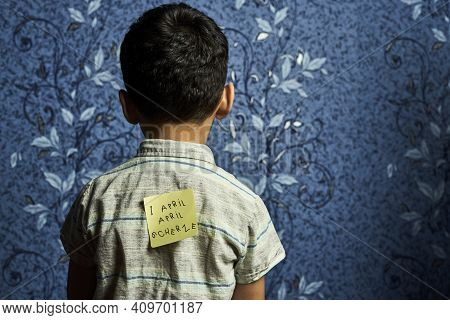April Fools Day Jokes. A Kid Back With Stickers And Funny Jokes