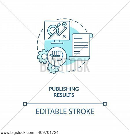 Publishing Results Concept Icon. Disclosuring Of Research Results Idea Thin Line Illustration. Publi