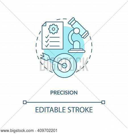 Precision Concept Icon. Testing Theory And Hypothesis Idea Thin Line Illustration. Measuring Theoret