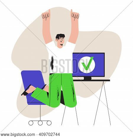 Vector Ilustration Of Happy Male Worker Or Businessman Completed Task And Triumphing With Raised Han