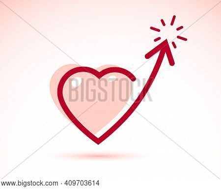 Heart With Arrow Up Vector Simple Icon Or Logo Design Isolated, Feeling High Concept, Emotions And F