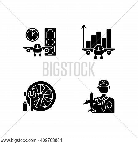 Aviation Black Glyph Icons Set On White Space. Aircraft Maintenance. Aviation Security And Fligts Sa