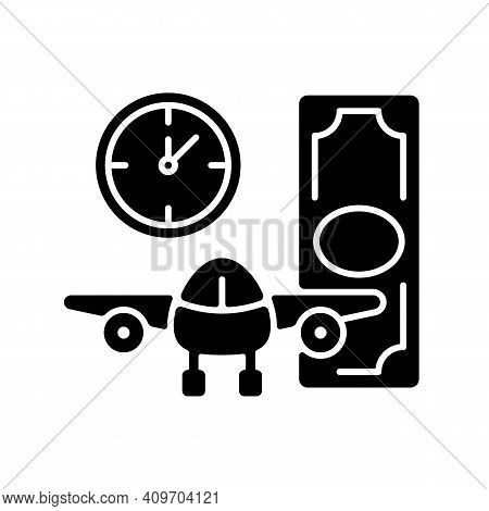 Aircraft Rental Black Glyph Icon. Civil Aviation. Ability To Get Plane For Rent. Light Aircraft. Pla