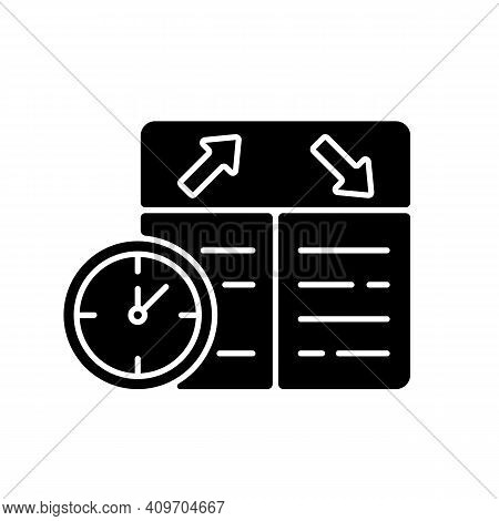 Flight Scheduling Black Glyph Icon. The Ability To Plan Trips. Compliance With The Schedule. Punctua