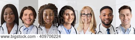 Diverse Doctors Portraits In Collage, Happy Medical Workers Headshots Set, Physicians And Nurses Pos