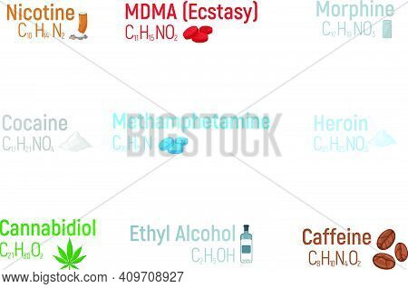 Set Of Concept 9 Narcotic Chemical Formula Icon Label, Text Font Vector Illustration, Isolated On Wh