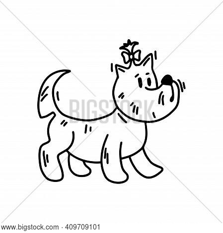 West Highland White Terrier With A Bow. Cute Dog With New Haircut. Doodle Icon. Vector Illustration