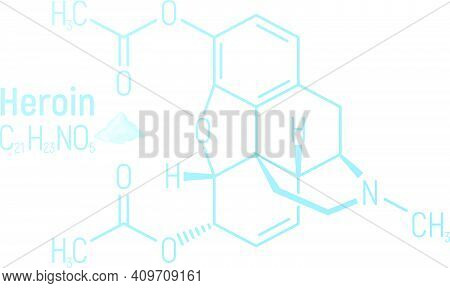 Heroin Concept Chemical Formula Icon Label, Text Font Vector Illustration, Isolated On White. Period