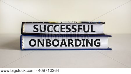 Successful Onboarding Symbol. Books With Words 'successful Onboarding' On Beautiful White Background