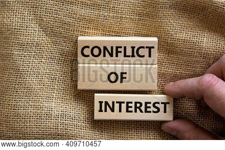 Conflict Of Interest Symbol. Wooden Blocks With Words 'conflict Of Interest'. Beautiful Canvas Backg