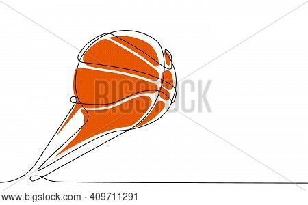 Basketball Ball In One Continuous Line. Team Sports, Active Lifestyle. Background For Sports Competi