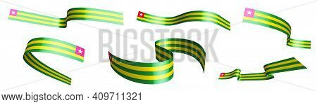Set Of Holiday Ribbons. Flag Of Togolese Republic Flag Waving In Wind. Separation Into Lower And Upp