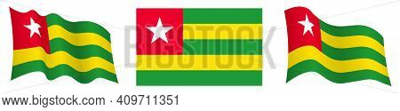 Flag Of Togolese Republic In Static Position And In Motion, Fluttering In Wind In Exact Colors And S