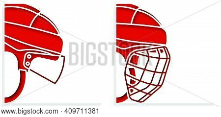 Ice Hockey Helmets With Protective Grill And Transparent Visor On White Background. Sports Competiti