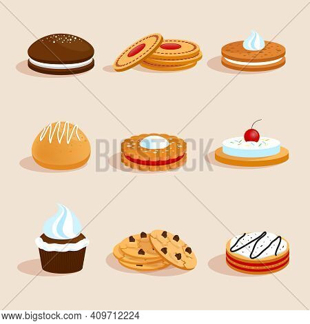 Sweet Sugar Chocolate Biscuit Cookies Decorative Icons Set With Cream And Cherry Decoration Isolated