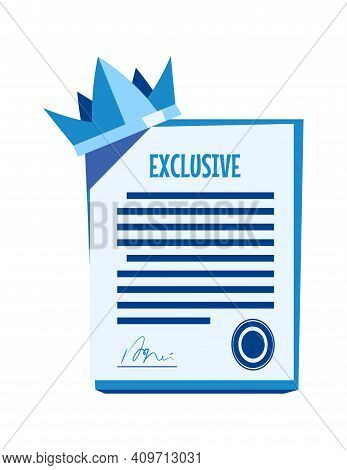 Paper Document With Signature And Seal, Exclusive Contract Or Agreement Cartoon Vector Illustration