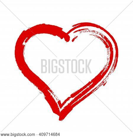 Scribble Heart Shape Sketch Red Color, Hand Drawn Heart Symbol Isolated On White, Heart Shape In Pai