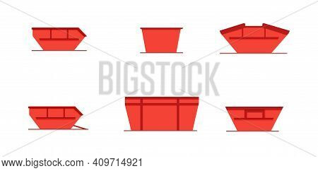 Set Of Skip Bin Is A Large Open-topped Waste Container. Red Skip Vector Icon Illustration