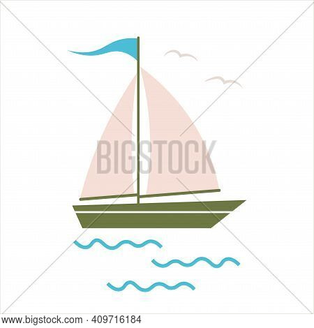 Sail Boat. Cute Boat With Sails On A White Isolated Background. Sailboat And Water Waves. Vector Ill